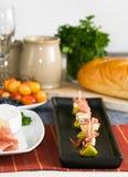 Fig, prosciutto, and Brie Stock Photo