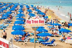 Fig Tree Bay Sign on Beach in Protaras.Cyprus. Protaras. Cyprus - October 5, 2018: Fig Tree Bay Sign on Beach in Protaras.Cyprus royalty free stock images