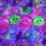 Fig Watercolour Textile Background Paper. A seamless watercolour textile design with happy cartoon fruit Stock Images