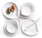 Fig on White Plate Stock Photo