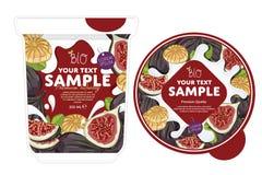 Fig Yogurt Packaging Design Template. Stock Photo