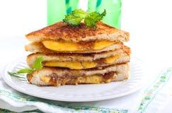 Figa dżem i ser piec na grillu kanapka Zdjęcia Stock