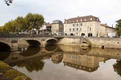 Figeac y río de Le Cele Fotografía de archivo libre de regalías