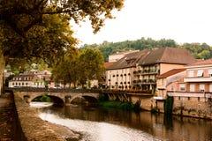Figeac y río de Le Cele Imagenes de archivo