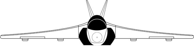 Figher. Vector illustration of a military plane  viewed from front Royalty Free Stock Images