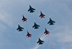 Fighter jets in formation Stock Images