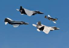 figherutveckling för 4 flygplan Fotografering för Bildbyråer