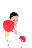 Fight. Girl in action Royalty Free Stock Photo