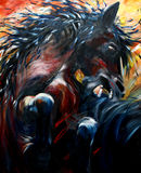 Fight. Ing horses oil painted.Picture I have created myself Stock Photos