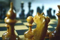 Before fight. Chessboard with the placed figures Royalty Free Stock Photo