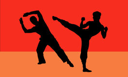 Fight !. Silhouette Illustration of Two Fighters Royalty Free Stock Photos