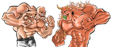 Fight. Demon vs human bald fighter stock photos