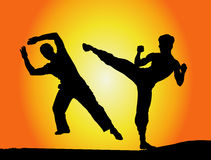 Fight !. Silhouette Illustration of Two Fighters Stock Image