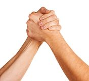 Fight. Men hands fight over white background Royalty Free Stock Photos
