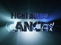 Fight Against Cancer. 3d illustration Banner Design Concept, on blue background. Royalty Free Stock Photos