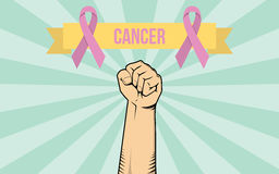 A fight against a cancer disease illustration with single hand show fighting. Vector Stock Image
