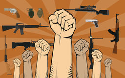 Fight against gun control illustration with hand and a lot of different weapon or gun as background. Vector Royalty Free Stock Photo