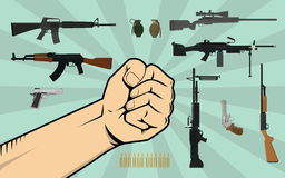 Fight against gun control illustration with hand and a lot of different weapon or gun as background. Vectror Royalty Free Stock Photography