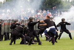 Fight against hooligans royalty free stock photos