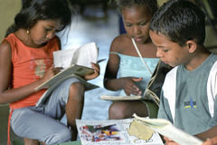 Fight against illiteracy through mobile library, Brazil. Brazil: In the Brazilian countryside is great illiteracy. In the vicinity of the village Conde has Royalty Free Stock Photo