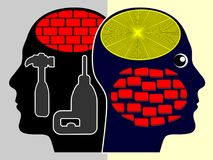Fight against Prejudice. Person tearing down the wall in his head in order to have an open mind vector illustration