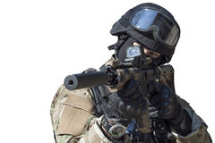 Fight against terrorism, Special Forces soldier. With assault rifle, police swat, isolated on white stock image