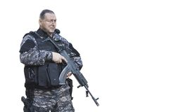 Fight against terrorism, Special Forces soldier, police swat. Fight against terrorism, Special Forces soldier, with Czech assault rifle sa.vz.58, police swat Royalty Free Stock Image