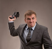 Fight. Aggressive office worker put up a fight Royalty Free Stock Photos