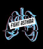 Fight asthma. Vector hand drawn placard with lungs . Tattoo artwork. Template for card, poster, banner, print for t-shirt Royalty Free Stock Image