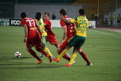 Fight for the ball in the match kuban - rubin russian premier league Royalty Free Stock Photos