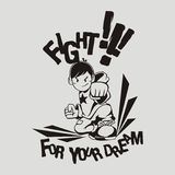 Fight. Black and white illustrator. an applicable illustration to use in any media, mostly in t-shirt Royalty Free Stock Images