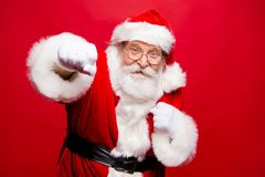 Fight boxer boxing attack strength hit knock gifts and presents. At good price. Grandfather stylish Santa with white beard in headwear and costume have sport royalty free stock photo