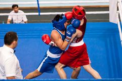 Fight boxers, Orenburg, Russia Royalty Free Stock Photo