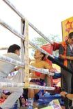Fight boxing. SURAT THANI, THAILAND - DECEMBER 14 : Shucheelhong break during fight boxing with Ratchasak Sitmoaseng on December 14, 2012 in Surat Thani stock images