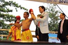 Fight boxing. SURAT THANI, THAILAND - DECEMBER 14 : Ratchasak Sitmoaseng wins over Shucheelhong after fight boxing on December 14, 2012 in Surat Thani, Thailand stock image