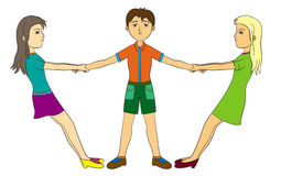 Fight for a boy. A humorous illustration of two girls fighting over a young man Royalty Free Stock Images