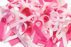 Fight breast cancer. Different pink ribbons representing all kinds of women fighting against breast cancer Royalty Free Stock Photography