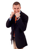 Fight for the business. Picture of a young businessman ready to fight for the business royalty free stock images