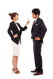 Fight business couple. Isolated on white background stock photography