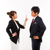 Fight business couple Stock Photos