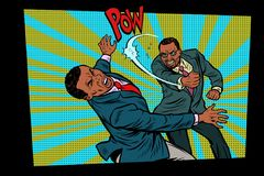 The fight business, a heavy blow. Competition businessmen concep. T. Pop art retro vector illustration comic cartoon vector vintage kitsch drawing Stock Photo