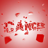 Fight the cancer composition background. Made of broken into pieces word Royalty Free Stock Image