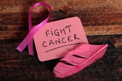 Fight cancer. Concept shot giving message to fight with cancer stock image