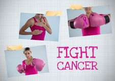 Fight cancer text and Breast Cancer Awareness Photo Collage. Digital composite of Fight cancer text and Breast Cancer Awareness Photo Collage Stock Photos
