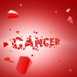 Fight the cancer, word broken into pieces. Red background Royalty Free Stock Photos