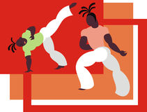 The fight capoeira. The fighters of the national Brazilian martial art capoeira Stock Photos