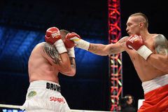 Fight for champions belt. Lviv, UKRAINE -October 4, 2014 : Oleksandr Usyk (Ukraine) and South African Daniel Bruwer in the ring during fight for WBO Inter royalty free stock images