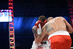 Fight for champions belt. Lviv, UKRAINE -October 4, 2014 : Oleksandr Usyk (Ukraine) and South African Daniel Bruwer in the ring during fight for WBO Inter stock photography