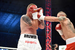 Fight for champions belt. Lviv, UKRAINE -October 4, 2014 : Oleksandr Usyk (Ukraine) and South African Daniel Bruwer in the ring during fight for WBO Inter royalty free stock photo