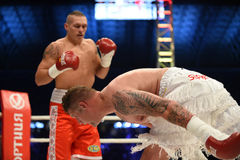 Fight for champions belt. Lviv, UKRAINE -October 4, 2014 : Oleksandr Usyk (Ukraine) and South African Daniel Bruwer in the ring during fight for WBO Inter stock photos
